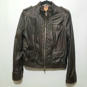 Tory Burch Brown Leather Quilted Bomber Jacket Size 12